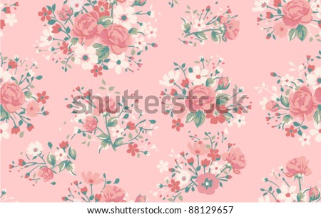 seamless vintage rose pattern - stock vector