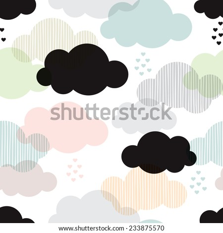 Seamless vintage style clouds love rain illustration background pattern in vector - stock vector