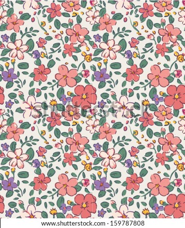 seamless vintage tiny flower  pattern background - stock vector
