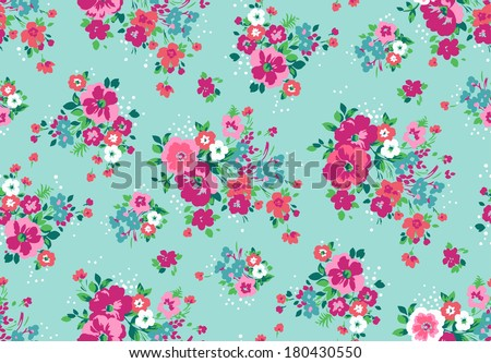 seamless vintage tropical flower pattern vector - stock vector