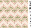 Seamless vintage wallpaper pattern. Abstract floral ornament. Polka dot background. Vector illustration. - stock photo