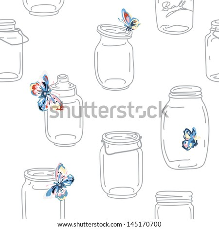 Seamless vintage whimsical pattern with jars and butterflies, vector retro background - stock vector