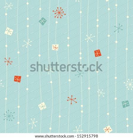 seamless vintage winter pattern - stock vector