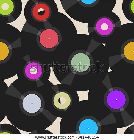 seamless vinyl records pattern, vector illustration,fictional artwork - stock vector