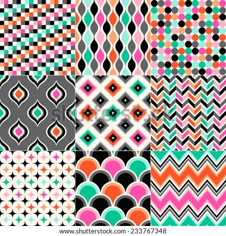 seamless vivid abstract geometric pattern - stock vector