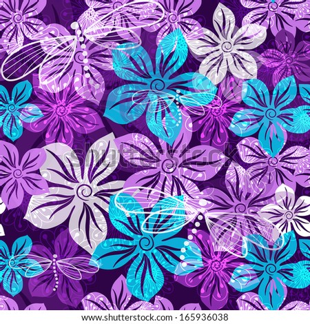 Seamless vivid floral spring pattern with translucent violet-blue-white flowers (vector EPS 10) - stock vector