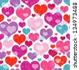 Seamless vivid valentine pattern with decorative colorful hearts and curls (vector EPS 10) - stock photo