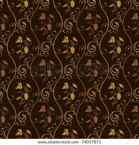 Seamless wallpaper background grapes decor vintage brown vector - stock vector