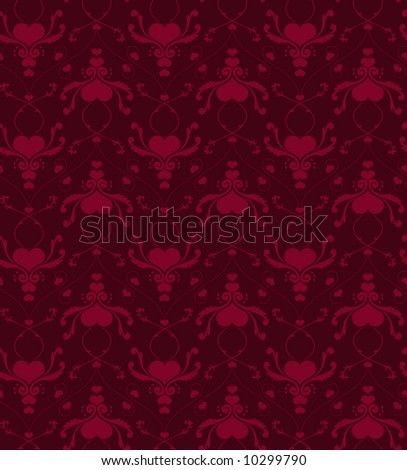 Seamless wallpaper background in victorian style with hearts. - stock vector