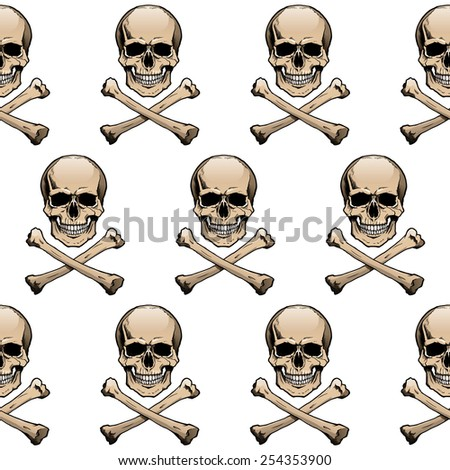 Seamless wallpaper background with colored skulls and crossbones. - stock vector