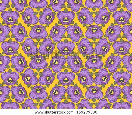 seamless wallpaper design of purple orchids against a yellow background - stock vector
