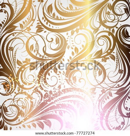 Seamless wallpaper golden pattern with vintage flowers, vector. Eps 10.