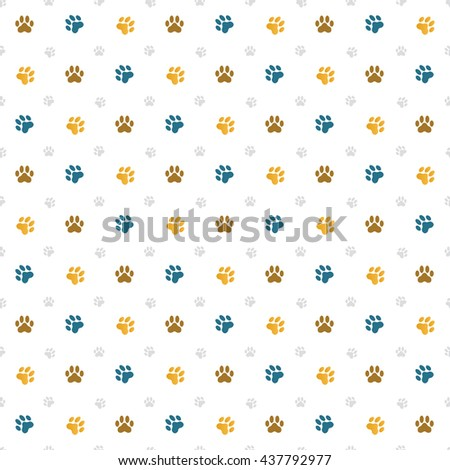 Seamless wallpaper illustration of cat paw prints