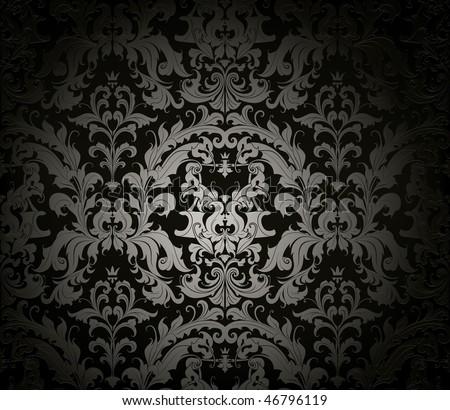 Seamless wallpaper pattern, black - stock vector