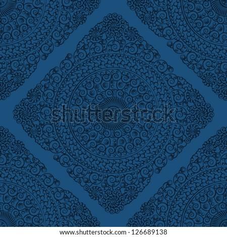 Seamless wallpaper pattern, blue - stock vector