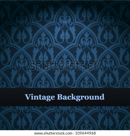 Seamless wallpaper pattern. Blue vector background. - stock vector