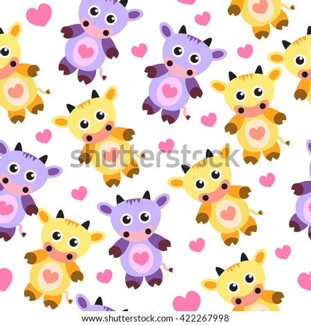 seamless wallpaper pattern cute cow, soft toy, vector illustration, children's wallpaper, children's batskground, repetitive - stock vector