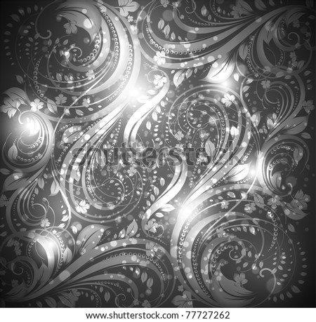 Seamless wallpaper pattern silver, vector. Eps 10. - stock vector