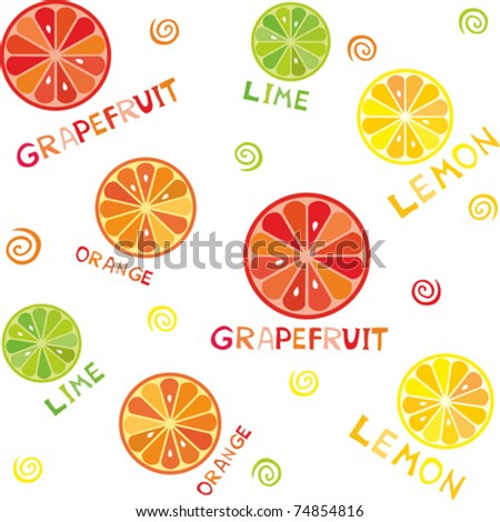 Seamless wallpaper pattern with citrus design: lemon, orange, lime, orange.   Isolated on white background. Vector illustration