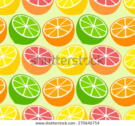 Seamless wallpaper pattern with citrus fruits - stock vector