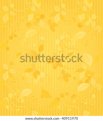 Seamless wallpaper pattern with gold leaves - stock vector