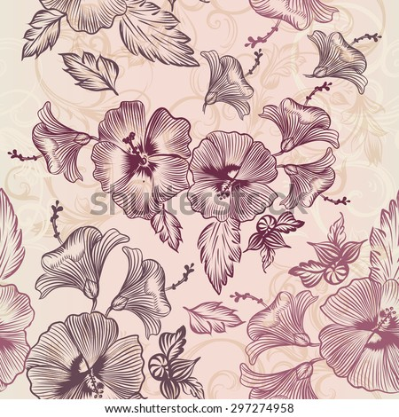 Seamless wallpaper pattern with hibiscus flowers