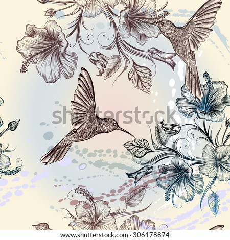 Seamless wallpaper pattern with hummingbirds and hibiscus flowers - stock vector
