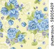Seamless wallpaper pattern with of collection blue roses and flowers on design background, vector illustration - stock vector