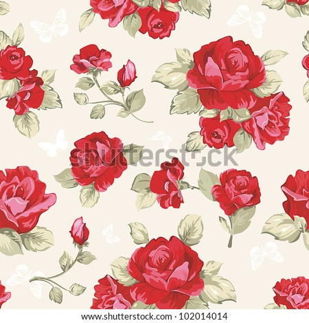 Seamless wallpaper pattern with of collection red roses on design background, vector illustration - stock vector