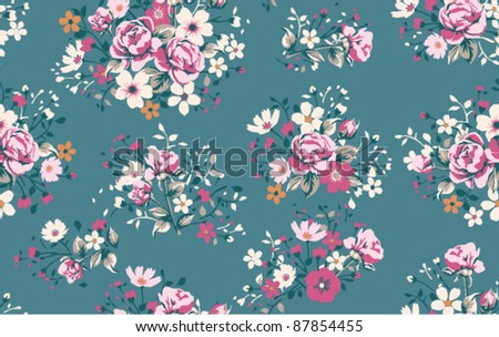 Seamless wallpaper pattern with of pink roses - stock vector