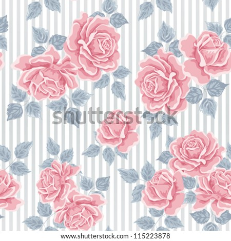 Seamless wallpaper pattern with roses. Flower background - stock vector