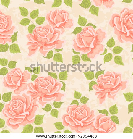 Seamless wallpaper pattern with roses, vector illustration