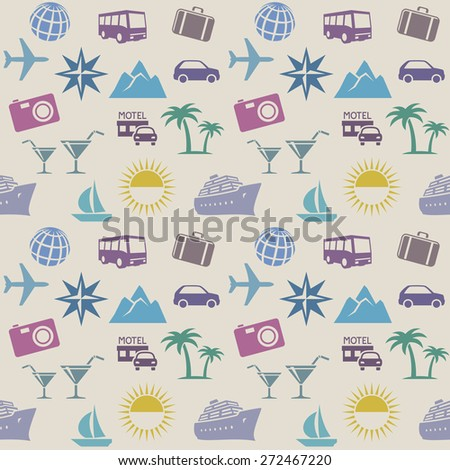 Seamless wallpaper pattern with travel icons - stock vector