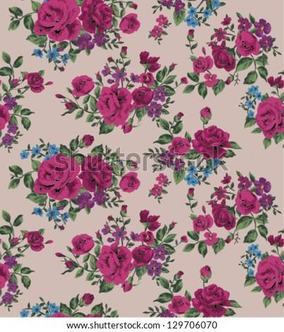 seamless wallpaper vintage folk flower rose pattern background - stock vector