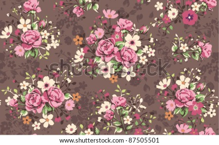 seamless wallpaper vintage rose pattern - stock vector