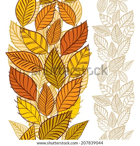 Seamless wallpaper with autumn leaves, vertical composition, hand drawn, vector.