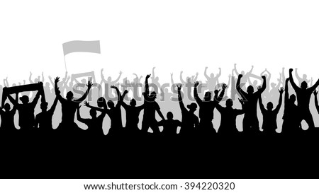 Seamless wallpaper with cheering people