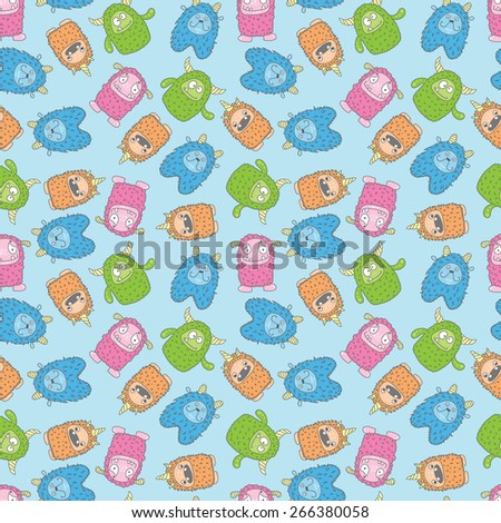 seamless wallpaper with colorful monsters on a blue background - stock vector