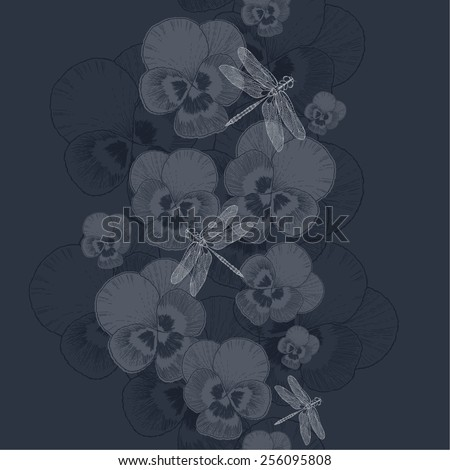 Seamless wallpaper with decorative pansies and dragonflies, vector illustration. Hand-drawing. - stock vector