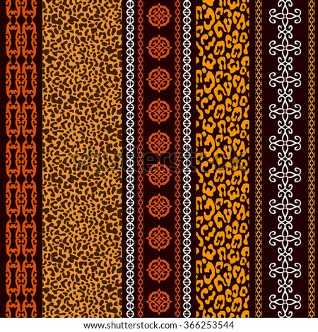 Seamless wallpaper with ethnic motifs and leopard print. Abstract geometrical vector pattern. Art Deco style. Safari collection. - stock vector
