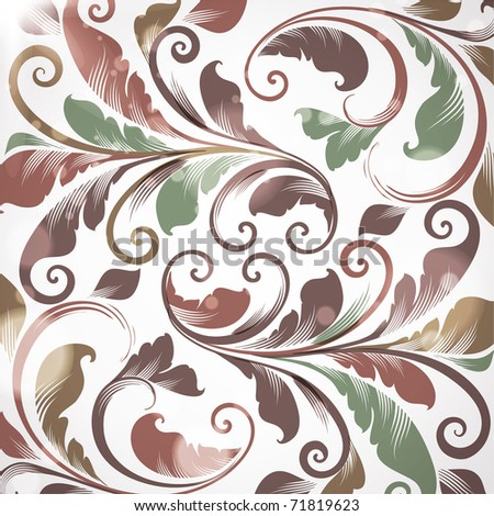 Seamless Wallpaper with floral ornament with leafs and flowers for vintage design, Vector retro background - stock vector