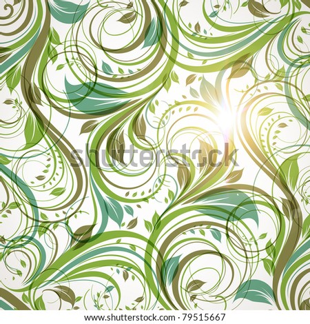 Seamless wallpaper with floral ornament with leafs and flowers for vintage design, Vector spring or summer retro background. Vector Eps 10. - stock vector