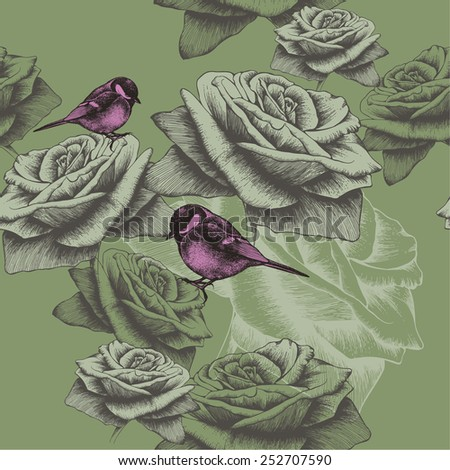 Seamless wallpaper with flowers and birds, hand-drawing. Vector illustration. - stock vector