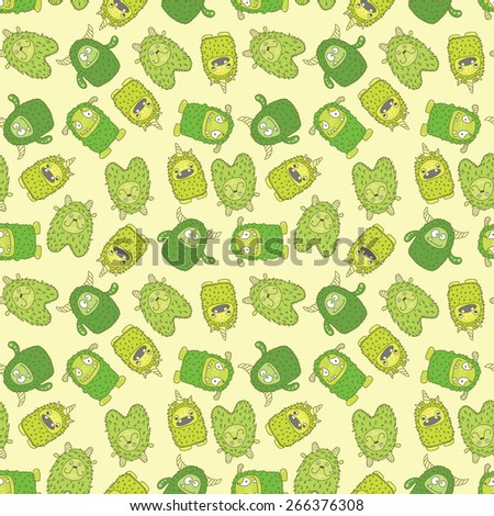 seamless wallpaper with green monsters on a light background - stock vector