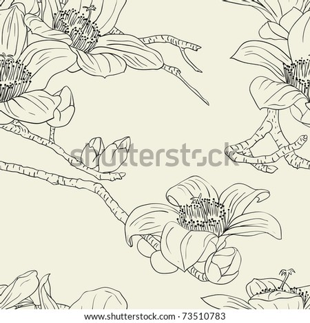 Seamless wallpaper with orchid flowers - stock vector