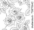 Seamless wallpaper with rose flowers - stock vector