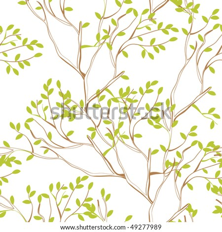 seamless wallpaper with tree branches and green spring foliage - stock vector
