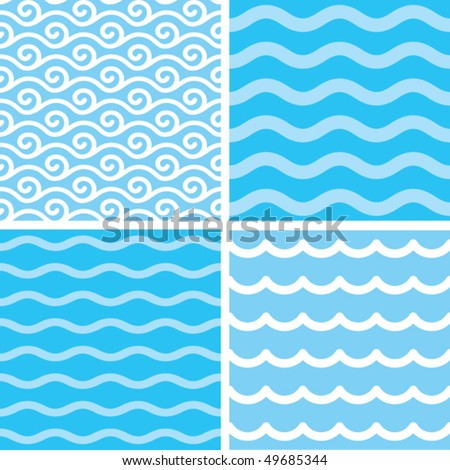Seamless water wave patterns - stock vector