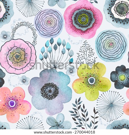 Seamless watercolor abstraction floral pattern in vintage style. - stock vector