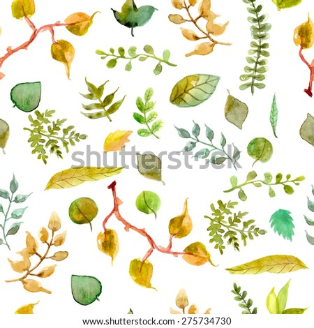 Seamless watercolor background with different leaves, green pattern, Vector - stock vector